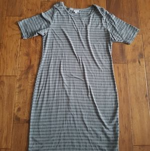 LuLaRoe Light Gray and Dark Gray Striped Dress 3XL